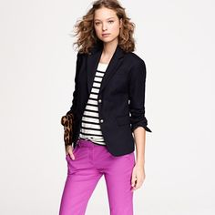 I want a navy blue blazer EXACTLY like this! (But with a contrasting inside sleeve pattern so I can roll up the sleeves.) Too bad this is way out of my price range...