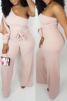 Shyfull Casual One Shoulder Jumpsuit(With Belt) Blue Fashion, Urban Fashion, Womens Fashion, 50 Fashion, One Shoulder Jumpsuit, Pink Jumpsuit, Two Piece Outfit, Jumpsuits For Women, Plus Size Dressy Jumpsuits