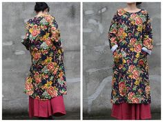 Vestidos maxi - Linen Printed Literary Fan Long Sleeve Dress - hecho a mano por greenhamster en DaWanda