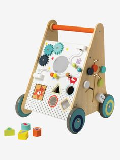 Both a walker with brakes to accompany baby's first steps safely and a fun and educational activity board. This walker helps to develop mobility by walk Toddler Toys, Baby Toys, Kids Toys, Tier Puzzle, First Birthday Presents, Autism Learning, Cot Blankets, Mobiles, Carters Baby Girl