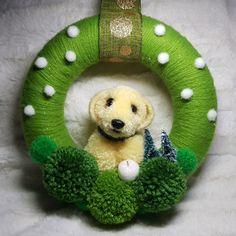 Pom pom dog wreath