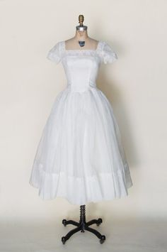 1950s tea length wedding dress from Dalena Vintage Bridal