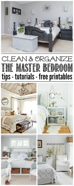 Master Bedroom Organization. Lots of ideas to help you get your master bedroom cleaned and organized. Free printables included to help keep you on track!