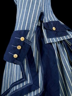 1872 Seaside costume made of cotton trimmed with linen and applied silk  braid and bone buttons 7f3c31a570ae