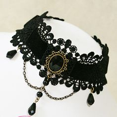 Gothic sexy Lolita Lace ribbon Black Choker necklace NR250