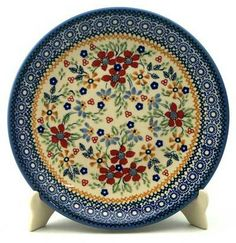 """8.5"""" Salad Plate. Ruby Bouquet pattern. Polish Pottery Outlet."""
