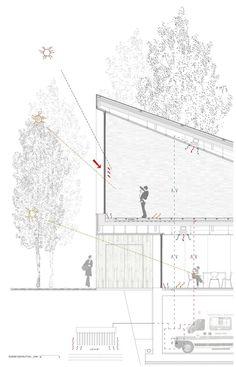 architecture section cut using lineweights_ a f a s i a: Cerullo + HGO Oficina de Arquitectura