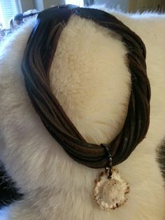 Leather and deer antler button necklace