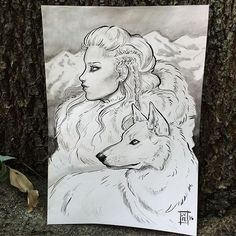 """""""Skadi"""" the Norse goddess of winter. She and many others are in my 68 page """"Goddesses"""" book 😊 which is back up in my shop! Books are being printed now! All preordered books will be shipped on the 15th and I thank you all so much for your patience 💗 I am sending out non book orders tomorrow! Being a one woman team is challenging 😅"""