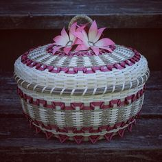Large fuchsia and natural colored basket with flowers made by mohawk basket maker, Ann Mitchell - Dream Weaver Basketry.