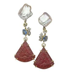 SORAB & ROSHI Keshi Pearl & Pink Tourmaline Dangle Earrings