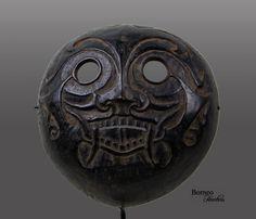 Kayan Mask Tribal Borneo Dayak Mask Coconut Shell by BorneoHunters