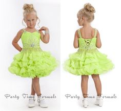 Wholesale Girl's Pageant Dresses - Buy Pretty Great Apple Green Spaghetti Lace Up Ball Gown Organza Ruffles Mini Short Little Girl Pageant Dress Formal Party Evening Gowns For Kid, $87.9   DHgate