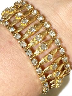 Vintage Parklane brushed gold plated bracelet with 3 rows of sparkling rhinestones  by GiosGems1 on Etsy