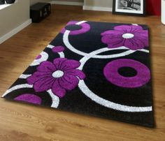 Black Grey and Purple Circle Floral Flowery Pattern Rug - Choice Of 2 Sizes | eBay