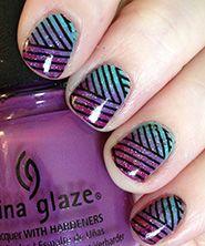 Konad nail stamping with gradient nail