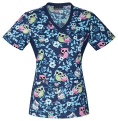 """""""Owl I Want Is You"""" in this Cherokee scrub top! Find it at The Uniform Outlet!"""