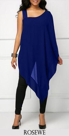 Overlay Embellished Asymmetric Hem Navy Blue Blouse.#Rosewe#blue#tees#shirts