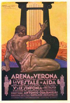 PUBBLICITA' ARENA DI VERONA STAGIONE LIRICA 1927 PLINIO CODOGNATO ARPA 1927