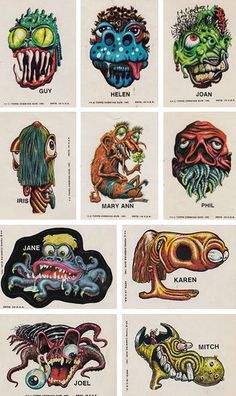 Monstickers - Monster Puffy Stickers From 1979 By Topps! Sea Of Monsters, Cartoon Monsters, Cool Monsters, Monster Art, Traditional Tattoo Inspiration, Graphic Design Illustration, Illustration Art, Basil Wolverton, Garage Art