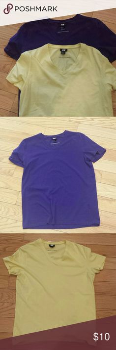 2 H&M V - Neck T -Shlrt Size M New With out tag 2 v Neck One Yellow and one purple   size M H&M Shirts Tees - Short Sleeve