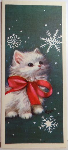 Rust Craft Marjorie M Cooper Kitten Cat Snowflakes Vtg Christmas Card 632 Vintage Christmas Images, Old Christmas, Christmas Scenes, Old Fashioned Christmas, Christmas Animals, Retro Christmas, Vintage Holiday, Christmas Pictures, Christmas Kitty
