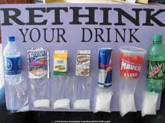 Look at the sugar content in the drinks above!  The water displays salt not sugar.