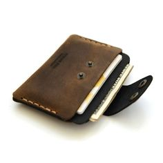 Slim Leather Wallet with cash and credit card by AtelierPall-SR