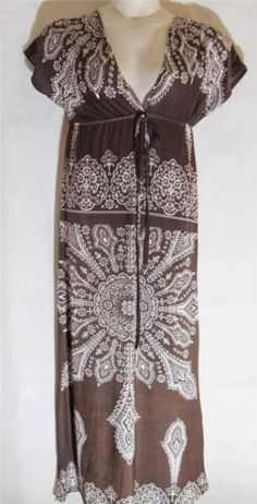 FASHION IN STYLEBrown & White FloralStretch KnitMaxi DressMediumWORN ONCE | eBay