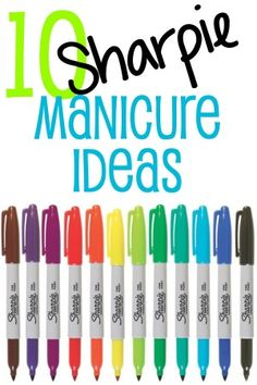 10 super cute and easy nail art ideas using sharpie markers for those of us who just can't master it with nail polish. (Me) 10 super cute and easy nail art ideas using sharpie markers for those of us who just can't master it with nail polish. Sharpie Nails, Diy Nails, Manicure Ideas, Nail Manicure, Love Nails, How To Do Nails, Pretty Nails, Do It Yourself Nails, Sharpies