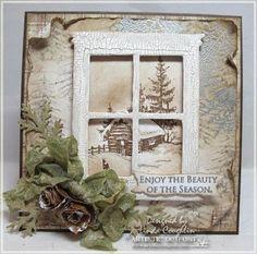 Enjoy The Season Use distress crackle paint for window