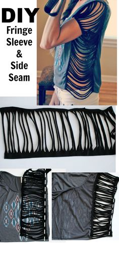 Supplies: Jersey, Small tshirt. My fringe sleeve/seam shirt tutorial ( here ) was a hit...unfortunately though, double sided f...