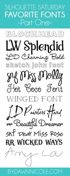 Silhouette Saturday: My favorite Silhouette Fonts, Part One | bydawnnicole.com
