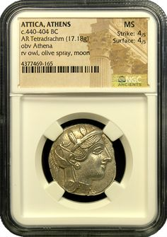 Attica Owl Silver Tetradrachm NGC Choice About Uncirculated Coin Dealers, Coin Art, Gold And Silver Coins, Rare Coins, Ancient Greek, Athens, Owl, Old Things, Mint