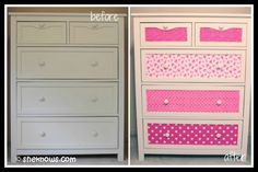 Upcycled furniture DIY Dresser refurbishing - this would especially look awesome in a kids room, add Repurposed Furniture, Kids Furniture, Furniture Making, Furniture Design, Dresser Repurposed, Furniture Online, Furniture Projects, Diy Décoration, Easy Diy