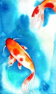 Koi Pond - Watercolour Art Print by CaitieM - X-Small Koi Art, Fish Art, Watercolor Fish, Watercolor Paintings, Watercolour Painting Easy, Fish Paintings, Mermaid Paintings, Carpe Coi, Arte Inspo