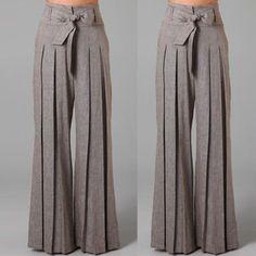 Women Loose Casual Ol Wide Leg High Waist Long Pants Palazzo Trousers Belt