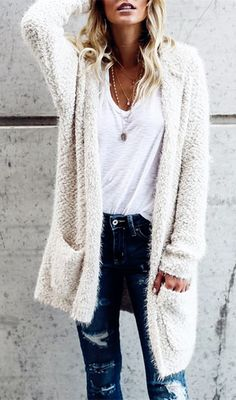 solid color loose cardigan top for women, long sleeves warm outwear coat top for women, mid-length pure color cardigan for women, casual cardigan with pockets for women, women autumn winter knitted hooded cardigan top Fall Outfits, Casual Outfits, Cute Outfits, Fashion Outfits, Womens Fashion, Short Outfits, Ladies Fashion, Fashion Clothes, Trendy Fashion