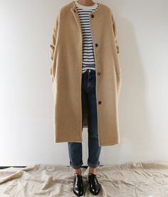 striped tee, dark jeans, black oxfords, camel coat