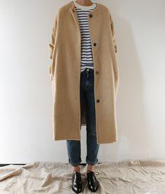 striped tee, dark jeans, black oxfords, camel coat
