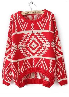 Red Tribal Print Pullover Sweater