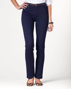 Knit denim slim-leg jeans