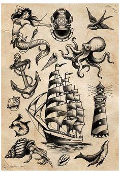 Pirate Tattoo Traditional, Traditional Sailor Tattoos, Traditional Lighthouse Tattoo, Traditional Tattoo Drawings, Traditional Black Tattoo, Traditional Tattoo Old School, Traditional Tattoo Design, Traditional Flash, Traditional Tattoo Sleeves