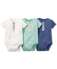 Carter\'s Baby Boys\' 3-Pack Henley-Style Short-Sleeve Bodysuits - Shop All Baby - Kids & Baby - Macy\'s