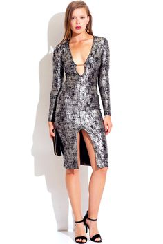 Vegas Business - Trendy Cute black and silver low v neck sweetheart bejeweled metallic long sleeve fitted bodycon slit midi club dress #fashion #maxidress #1015store   $40