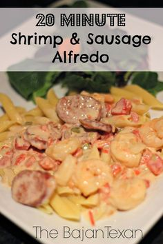 Shrimp and Sausage Alfredo Recipe - This is a recipe after a long time day at work, seriously in mins you have an amazing meal on the table! Shrimp And Sausage Alfredo Recipe, Grilled Shrimp Recipes, Baked Shrimp, Shrimp Recipes Easy, Seafood Recipes, Pasta Recipes, Seafood Meals, Spicy Shrimp, Shrimp Pasta