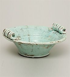 Aqua Ceramic Bowl Plow and Hearth