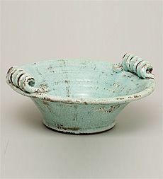 Aqua Ceramic Bowl Plow and Hearth