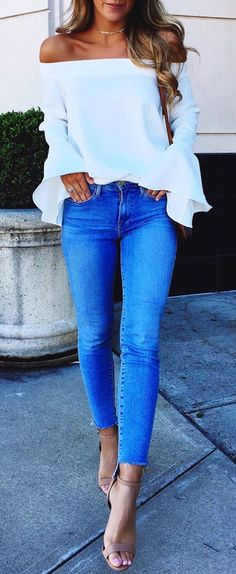 #Summer #Outfits white Bell-sleeve Top and jeans