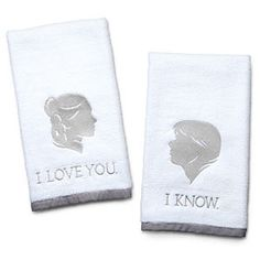 I might give these to myself, they fit my bathroom theme. ThinkGeek :: Star Wars Han and Leia Bathroom Hand Towels
